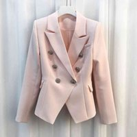 Women's Suits & Blazers HIGH QUALITY Fashion Baroque Designer Jacket Silver Lion Buttons Double Breasted Outerwear RULR