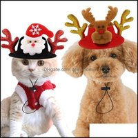 Собака для собак Главная Гардендог Одежда Xmas Hat Pet Cat Cot Christmas Headwear Elk Revere Antlers Drawband Drop Доставка 2021 MGNDW