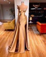 ASO EBI 2021 Arabische Goldkristalle Sexy Abendkleider High Split Abschlussballkleid Satin Formale Partei Zweiter Empfangskleider