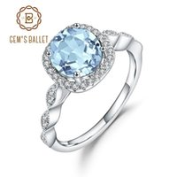 Cluster Rings Gem's Ballet 2.57Ct Natural Sky Blue Topaz Gemstone Ring 925 Sterling Silver Curved Halo To Match For Women Fine Jewelry