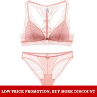 Pink Comfortable Breathable No Steel Ring Sexy Lace Front Buckle Beautiful Back Thin Bra Set Promotion Sale Discount Bras Sets