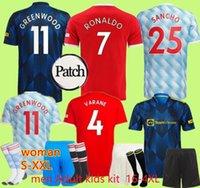 21 22 SANCHO Manchester Fussball Jerseys United Bruno Fernandes Martial Utd Pogba Rashford Football Hemd 2021 2022 Frauen Mann + Kinder Kit Hemden Lindelof Maguire James