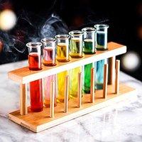 6 Stück Lot Test Tube Cocktailglas Set mit freier Rackständer Bar KTV Nachtclub Home Party Shot Gläser Tippy Halter Wine Cup X0703