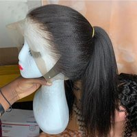 Yaki Straight T Part 13x3 Lace Front Wig Natural Color Synthetic Long Wigs Heat Resistant Fiber Hair PrePlucked Headband Wigss For Women