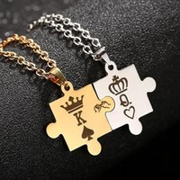Stainless Steel King Queen Stitching Pendant Necklace Gift For Lover Jewelry Couple Lover's Necklaces Her His