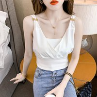 Women's Tanks & Camis Lace -up Halter Camisole Women 's Summer Fashion Design Sense Knitted Fitted Waist Cross Sleeveless T-shirt
