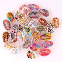 No Diy Shell Beads 20pcs Hole undrilled Colorful for Printed Cowrie Jewelry Components Finding Making Necklaces Bracelets
