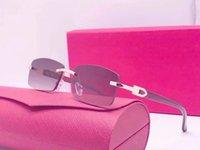 Ienbel Luxury Square Genuine Buffalo Chifre Sunglasses Mens Marca Designer Sun Óculos Vintage Carter Buffs Sem Rimless 2A181