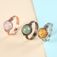 Handmade Retro Vintage Copper Wire Wrapped Oval Gem stone Healing Crystal DIY Finger rings stone rings women
