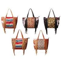 Leopardo Fringe Messenger Saco Listrado Patchwork Borla Crossbody Bags Mulheres Hippie Borlas Sunflower Bolsa Sacos de Armazenamento T2I52817