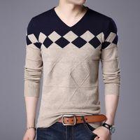 Otoño Invierno Hombre Plaid Jersey Suéter Juventud Hombre V-cuello Slim Fit Lójuelos Moda Argyle Suéteres de los hombres
