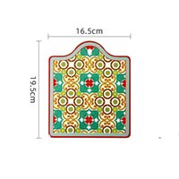 السيراميك عزل الحرارة وسادة الفلين أسفل الجدول حصيرة مكافحة تحرق وعاء الإبداعية رسمت لوحة المنزلية كوستر مربع BWF5963