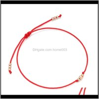 Charm Bracelets Drop Delivery 2021 Simplle Ball Copper Red String Bracelet Women Girl Minimalist High Quality Brass Beads Thin Thread Handmad