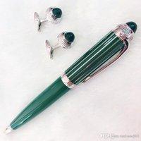 Atacado caneta de luxo marca de promoção penas de esferográfica com um par de cristal cuff 5a melhor qualidade marca de carros caneta gitf + dar sacos de veludo