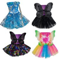 Clothing Sets Butterfly Wings Set Kids Girls Fairy Double Layers Tutu Skirt Wing Magic Wand Headband Cosplay Clothes Party Costume