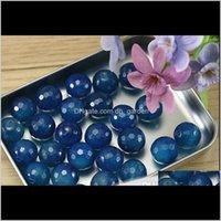 마노 약 40cmpack 6mm 8mm 10mm 귀중한 돌 자연 패싯 블루 Onyx 비즈 돌 목걸이 팔찌 DIY F1630 JXSH2 3HLWF