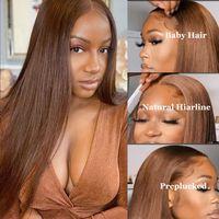 İpeksi Düz İnsan Saç 4x4 13x4 Dantel Frontal Peruk Işık Kahverengi 4 # Renk Öncesi Kopardı Doğal Saç Çizgisi