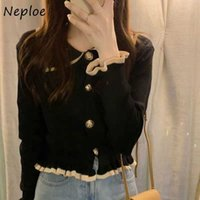 Neploe French Style Turn-down Collar Femme Cardigans Single Breasted Long Sleeve Ruched Knitted Jackets Slim Bottoming Sweater Y1010