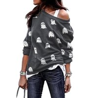 Women Sexy Off Shoulder Sweatshirt Slash Neck Long Sleeve Fashion Casual Loose Funny White Ghost Pattern Print Ladies Outerwear Women's Hood