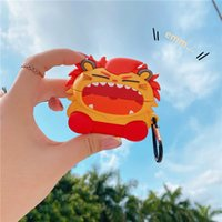 3D Lion Silicone Storage Cover for TWS Apple Airpods2 Pro Wireless Earphone Cutie Cartoon Pouch Bag with Hook Shockproof