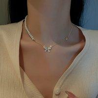 Collares colgantes de moda y simple Pearl Micro-INlaya Zircon Butterfly Women's Necklace