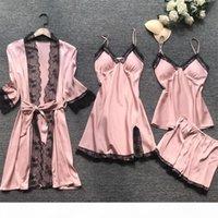 QWEEK Summer Women Pajama Sets 4 Pcs Sexy Lace Pyjamas Women Satin Silk Sleepwear Elegant Pijama with Chest Pads Homewear Y200425