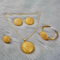 Set di gioielli 4 stock / Party Set etiopi per le donne Dubai Gold Hanger Hanger Catena orecchini Forcelle Eritrea Africa Habesha Regali da sposa