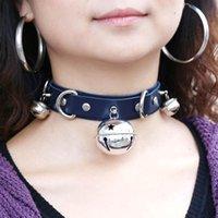 Qrhyk Frauen Leder Choker Halskette Sexy Bell Collar Bondage Punk Schmuck Geschenk Chokers