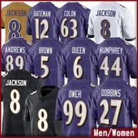 8 Lamar Jackson Football Jerseys Devin Duvernay 99 Jayson Oweh 6 Patrick Queen 5 Marquise Brown 12 Rashod Bateman Marlon Humphrey Kenji Bahar 남성 여성 유니폼