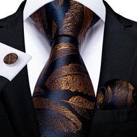 8cm Fashion Gold Feather Print Men's Silk Ties Handkerchief Cufflinks Set Business Party Necktie Gravatas Gift For Men DiBanGu
