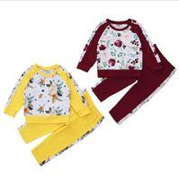 Kinder Mädchen Outfits Rose Blume Gedruckt Mädchen Jacke Hosen 2 stücke Sets Langarm Kinder Kleidung Set Boutique Kids Kleidung 2 Designs DW5910