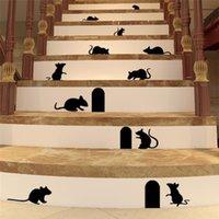 계단에 대 한 귀여운 3D 생생한 마우스 구멍 벽 스티커 홈 장식 DIY 데칼 재미 있은 쥐 동물 벽화