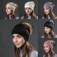 Beanie Skull Caps Cashmere Slouchy Beanie Hat With Rhinestone And Pearl Chunky Baggy Raccoon Fur Pom Winter Soft Warm Cap For Women