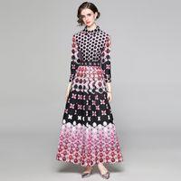 Роскошь горошек Maxi платье женщин дизайнер с длинным рукавом напечатанный тонкий A-Line PROP взлетно-посадочная полоса плиссированные платья мода деловая вечеринка офисная женская одежда весна осень