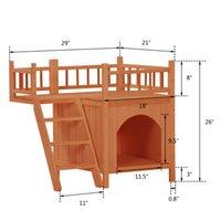 Dog Houses Sapin Double Couche Petite couche Cat Plate-forme Simple Opération par HousePet Maison vivante en bois avec balcon orange rouge