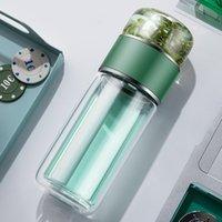 Çift katmanlı bardaklar yalıtımlı çay ve su ayırma cam taşınabilir yüksek sıcaklığa dayanıklı yaratıcı şişe