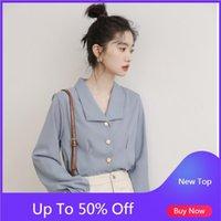 SEMFRI 2021 İlkbahar Yaz Bayan Gömlek Kore Versiyonu Gevşek Stil Tops Bluz Kadın Uzun Kollu Vintage Şifon Gömlek Kadın Bluzlar