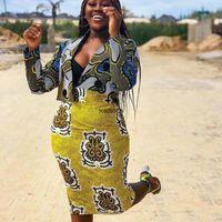 Ethnic Clothing African Clothes 2 Piece Set Print Skirt Women Dresses For Long Sleeve Crop Top Blazer&Pencil Autumn