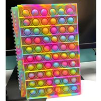 New Notebook A5 Finger Bubble Silicone Cover Notebook Decompression Silicone Bubble notebook Fidget Toys For kids Gift WHT0228