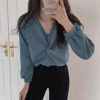 Women's Blouses & Shirts Elegant Solid Chic Kink Design Women Autumn 2021 Fashion Tide Blusas Mujer Aesthetic V Neck Long Sleeve Tops