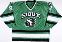 8 Mike Commodore North Dakota Fighting Sioux HOCKEY JERSEY Mens Embroidery Stitched Customize any number and name Jerseys