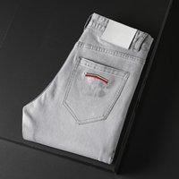 Hohe qualität mens designer luxurys jeans hell grau farbe verzweifelte business beiläufig straße tragen mann jean rock schlank bein fit gerissen loch streifen berühmte hosen w40