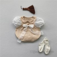 Baby girls ribbon Bows rompers toddler kids splicing lace ruffle puff sleeve jumpsuits summer newborn infant diaper clothing Q0312