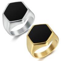 Мода Мужские Ювелирные Изделия 316 Из Нержавеющей Стали Мужчины Золотые кольца Черные эмаль Серебряные кольца
