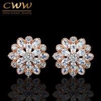 CWWZIRCONS SCHNERIG ZEICHNUNG Zirkonia Earing Schmuck Top Qualität Big Rose Gold Farbe Ohrstecker Für Frauen CZ079