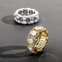 Fashion Charm Hip Hop Square Cubic Stones Zirconia Tennis Chain Rings Women Men 1 Row CZ Bling Iced Out Gold Ring Rapper Jewelry 1175 B3