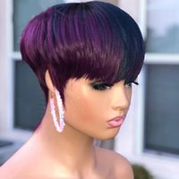 Ombre Purple Color Short Wavy Bob Pixie Cut Wig Full Machine Made Human Hair None Lace Front Wigs For Black Woman
