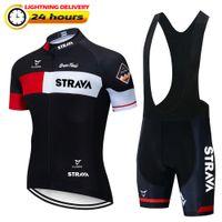 2021 Yeni Kırmızı Strava Pro Bisiklet Takımı Kısa Kollu Maillot Ciclismo erkek Bisiklet Jersey Yaz Nefes Bisiklet Giyim Setleri