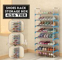 4 camadas / 5 camadas / 6 níveis de metal sapatos cabide sapato de sapato doméstico salvando espaço organizador de sapatos facilmente montagem q0901
