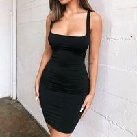 Grünes Kleid Mini Bodycon Frauen Sommer Mode Dres Backless Sexy Wrap Neon Sleeveless Jurk Dames Club Party